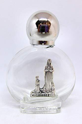 90.294.90008apparizione Virgen de Lourdes Botella Botella de cristal con tapón plateado para agua santa