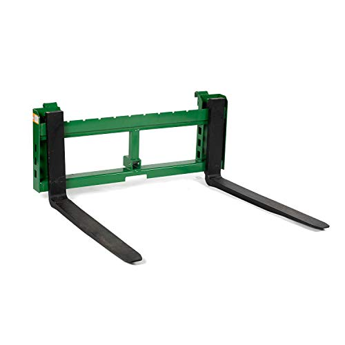 """Titan Attachments Heavy Duty Pallet Fork Frame and 42"""" Fork Blades with 2"""" Trailer Receiver Hitch Fits John Deere Loader"""