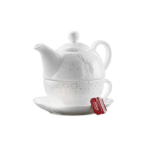 Gilde Tee-Set Tea for one im Hirsch Design, Höhe 15 cm, weiß hellgrau