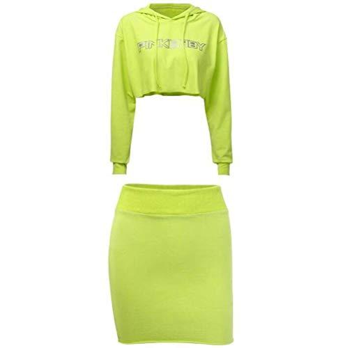 JUSTTIME Mode Reflecterende Letter afdrukken Lange Mouw Sweater Korte Rok Pak Vrouwen Herfst en Winter M Groen