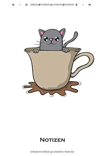Katze Kaffee Kakao Tee Kater Maus Notizbuch: Liniertes Notizbuch für Katzen- und Tierfreunde