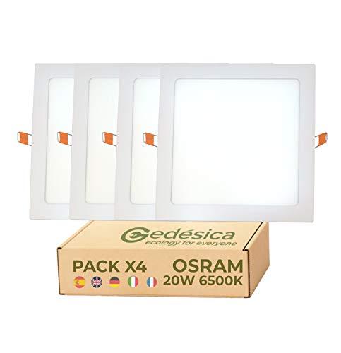 PACK X4, lamparas de techo, panel led techo, 20W 2400LM ⊠ 220mm Cuadrado empotrar, lamparas de techo dormitorio, downlight led, ideal para dormitorio, Salon, Pasillo, Baños, (6500K- Luz Blanca Fría)