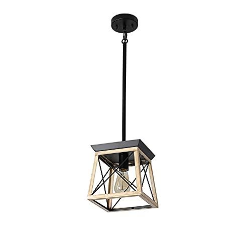 Lámpara colgante rústica de 1 luz, estilo rústico, lámpara de techo cuadrada, lámpara de techo industrial, de madera, para comedor, cocina, isla, pasillo, dormitorio, E27 bar