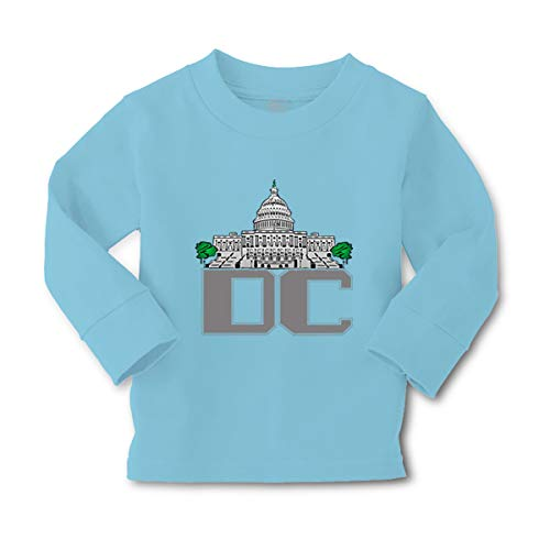 Kids Long Sleeve T Shirt City Silhouette Washington Dc Capital Washington Dc Capital Cotton Girls & Boys Clothes Funny Graphic Tee Light Blue Design Only 2T