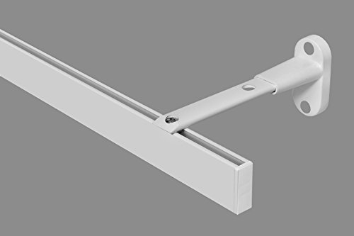 35x14 mm rechthoekige, moderne gordijnroede gordijnroede binnenrail wandbevestiging 1-loop-wit 1-Lauf - 4,00 m wit