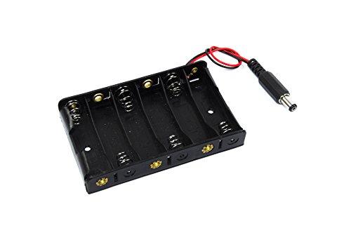 6x AA Batterie Clip 5,5mm 2,1mm DC Jack 9V um-3X 6Arduino Shield