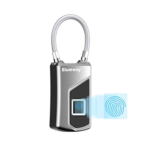 BlumWay vingerafdruk, intelligent hangslot IP66 Waterdicht Smart Fingerprint Lock voor 10 vingerafdrukken, geschikt voor voordeur, koffer, rugzak, fitnessruimte, fiets