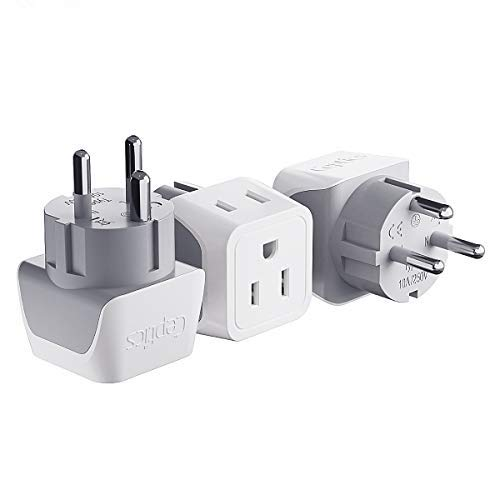 Denmark Travel Adapter Plug by Ceptics with Dual Usa Input - Power - Type K (3 Pack) - Ultra Compact - Safe Grounded Perfect for Cell Phones, Laptops, Camera Chargers and More (CT-20)