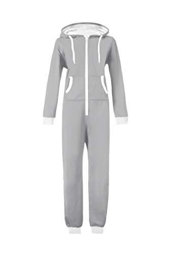WOTOGOLD Men and Women Adult Pajamas Sportswear Hooded Unisex Jumpsuit Gray