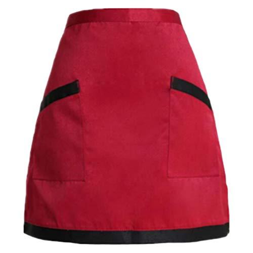 Yarnow Küchen-Taillenschürzen Halb Kurze Professionelle Servierschürzen Wickellätzchen mit Taschen für Kellner Arbeitskleidung Kellnerin (Roter Und Schwarzer Rand)