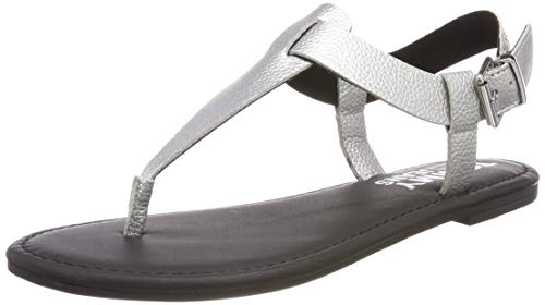 Hilfiger Denim Damen Shiny METALLIC Flat Sandal Zehentrenner, Silber (Silver 000), 39 EU
