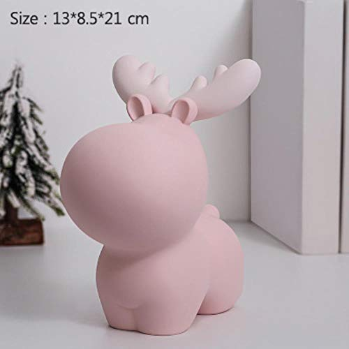 Decoratie Standbeeld Sculptuur Ambachten Kerstcadeaus Miniatuurmodel Sculptuur KerstmanCreatief Spaarvarken Bureau Decor Ornamenten Schattige Dieren Dier Herten Beeldje, Roze Xl