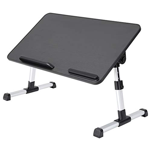 Foldable Laptop Desk, Adjustable Laptop Bed Table with Cushion, Portable Tray Table, Notebook Table with Legs, Laptop Stand for Eating, Studying on Bed, Sofa, Couch and Floor (Black)