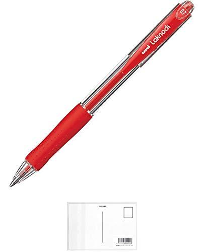 三菱鉛筆 三菱ボールペンVERY楽ノック細字0.7 赤10本 + 画材屋ドットコム ポストカードA