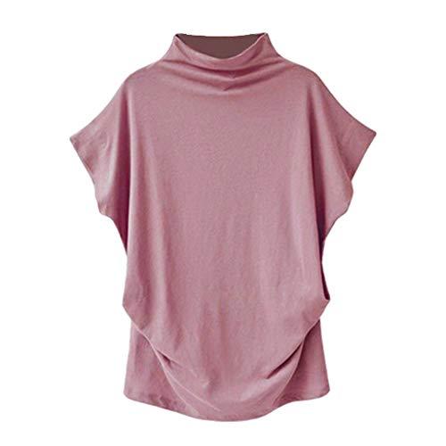 iHENGH Women Turtleneck Short Sleeve Cotton Solid Casual Blouse Top T Shirt Plus Size(Rosa, 3XL)