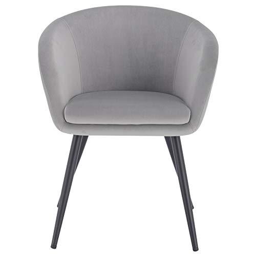 eSituro 1 x Sedia in Velluto Grigio da Sala da Pranzo Sala Attesa con Braccioli Poltroncina Camera da Letto Piedi in Metallo Grigio Chiaro SDC0232-1