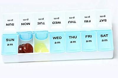 Heavy Duty 7 Day Pill Box Vitamin Medicine Tablet Dispenser Organiser Weekly Storage Case for PM AM