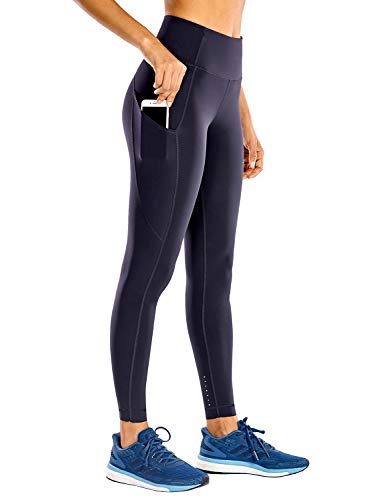 CRZ YOGA Women's High Waisted Yoga Pants with Pockets Naked Feeling Workout Leggings-25 Inches Navy 25