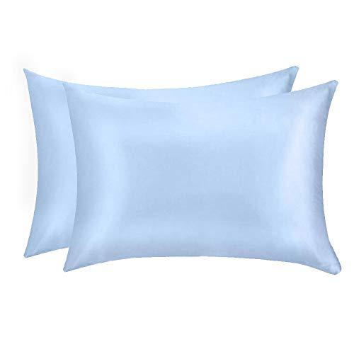 Jocoku - Juego de 2 fundas de almohada de seda de morera, 100% morera, para pelo y piel, súper suaves y transpirables, fundas de almohada de seda natural, tamaño king, color azul