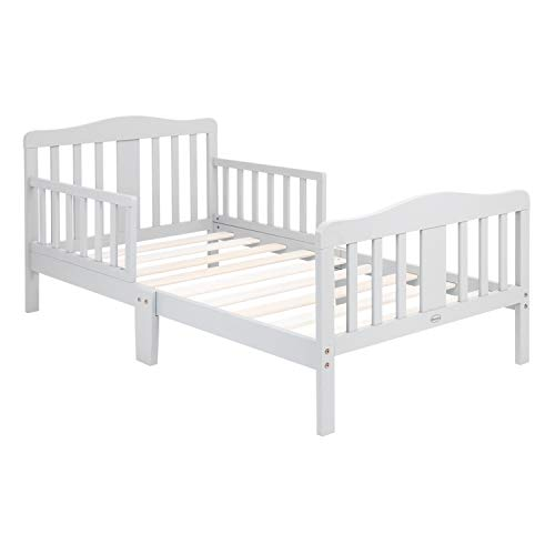 baby relax boy beds Bonnlo Toddler Bed with Guard Rail for Kids Children (Gray)