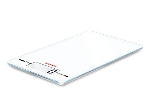 Soehnle Digitale Küchenwaage Page Evolution White mit Sensor-Touch-Bedienung, weiße Digitalwaage für genaue Teilung, Haushaltswaage mit 5 kg Tragkraft