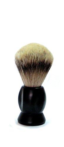 Golddachs Rasierpinsel, 100 Prozent Silberzupf, schwarzer Kunststoffgriff, 1 Stück