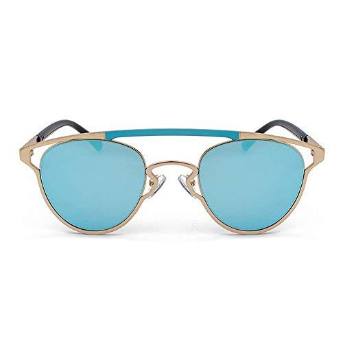 WMYATING Gafas de Sol, Ojos, a Prueba de luz, a Prueba de t Color Retro Personalidad Gafas de Sol Nuevas Gafas Huecas ovaladas Unisex 400 Protección Marco de Oro (Color : Blue)