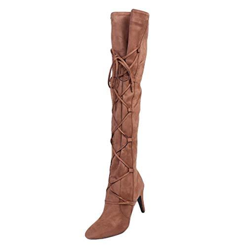Damen Overknee Stiefel Cowboy Hohl Wildleder Zeigte Zeh Spitze high Heels Boots