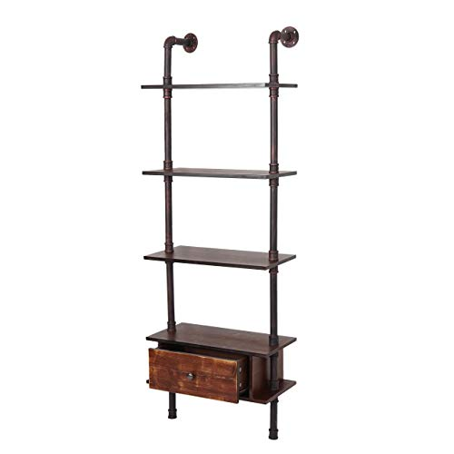 Mendler Standregal HWC-B64, Wohnregal Bücherregal Ablageregal, Industriedesign Metall 175x60x30cm