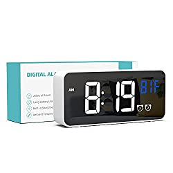 Alarm Clock with Large Display, 2 Alarm Settings, 5 Brightness Levels, 13 Ringtones, 12/24H, Temperature, Snooze, Small Alarm Clock, Clock for Bedside, Home and Travel