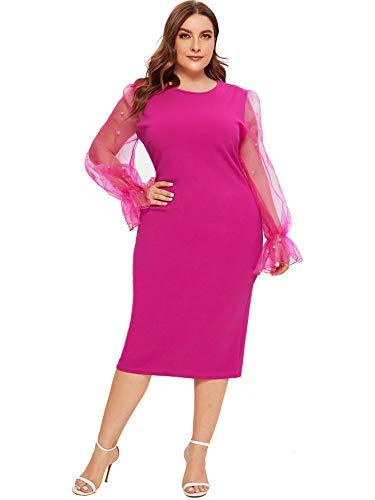 SheIn Women's Plus Size Elegant Mesh Contrast Pearl Beading Sleeve Stretchy Bodycon Pencil Dress Rosy XX-Large Plus