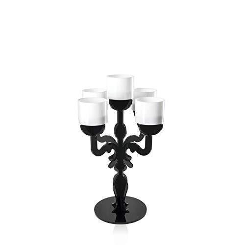 iPLEX - Ermione Candelabro Design Rinascimentale con 5 Braccia in plexiglass Nero Pieno Dim. 36x24,7x24,7 cm - Arredamento casa