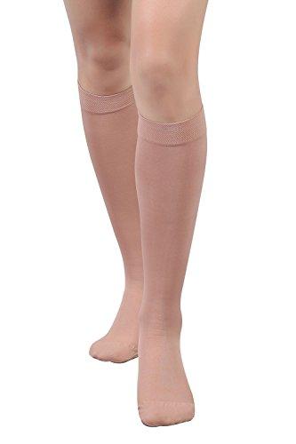 +MD Medizinische Kompressionsstrümpfe undurchsichtig 15-20 mmHg Kniehohe Stützstrümpfe gegen Schwellung, Krampfadern, Thrombose Nude XL