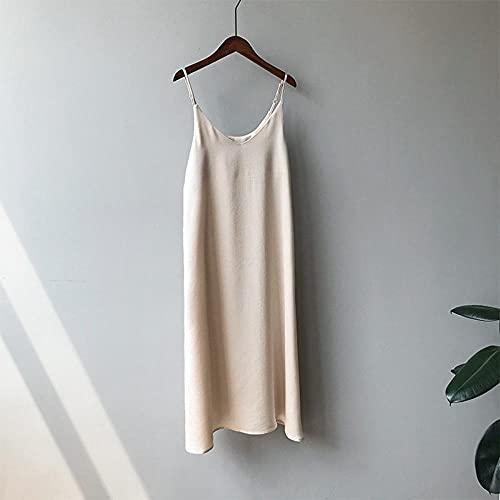 Damen Kleid Satin Sling Strap Kleider Sommer Rückenfreies Kleid Ropa Mujer Sukienki Letnie Robe Femme Vestidos-Apricot_M