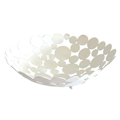 TOPBATHY Metal Countertop Fruit Basket Bowl Large Round Creative Decorative Table Centerpiece Holder Stand for Fruit Vegetable Bread Candy Nut (White)