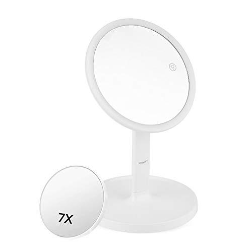 CkeyiN LED Spiegel für Schminkspiegel mit Doppelseiten 1x / 7X Vergrößerung Kosmetikspiegel,40 °Schwenkbar, USB Aufladbares, Make up Spiegel für Zuhause und Unterwegs