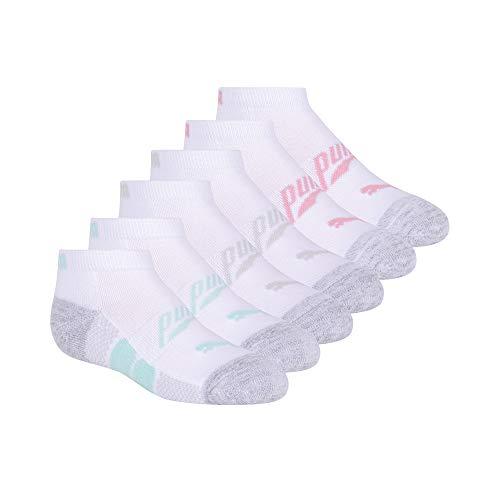 PUMA girls Low Cut Socks, White/Blue, 7-8.5 US