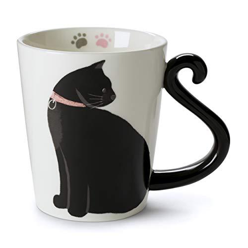 Tri-coastal Design - Taza en Forma de Gato - para Beber Té o Café - Gato Blanco y Negro con Mango en Forma de Cola - Idea para Regalar a Familiares o Amigos