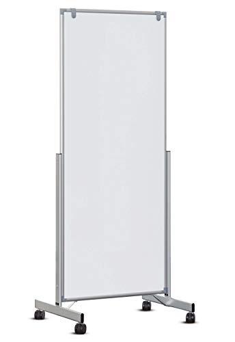 Whiteboard mobiel easy2move, magnetisch en beschrijfbaar, wit, aan beide zijden ook als scheidingswand te gebruiken 75 x 180 wit
