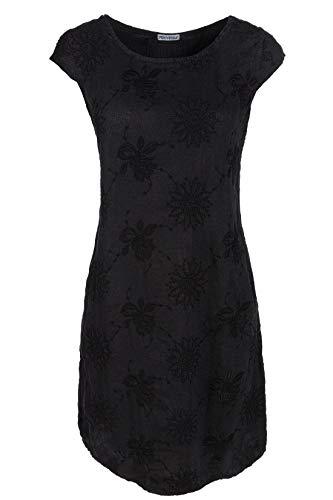 PEKIVESSA Damen Leinenkleid Stickerei Sommerkleid Kurzarm Schwarz 40 (Herstellergröße L)