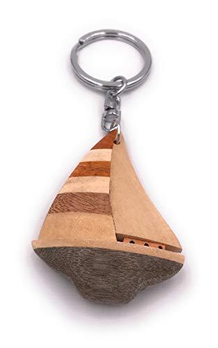 Onwomania Portachiavi in legno Barca Nave Barca a vela Nautica Acqua marittima Ciondolo con ciondolo