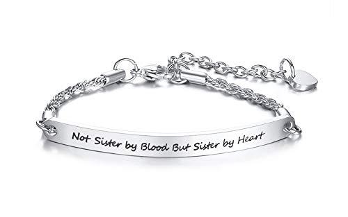 VNOX Freundschaft Inspirational Zitat Bar Armband Gravierte Edelstahl Link ID Kette für Frauen Mädchen Länge Einstellbar