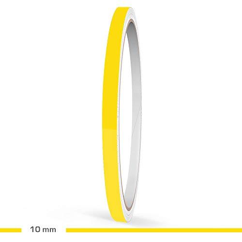 Motoking Zierstreifen, Gelb Glänzend, 10 mm Breite, 10 m Länge, RAL 1021, Aufkleber Folie Auto Boot Motorrad Wohnmobil Wohnwagen & mehr