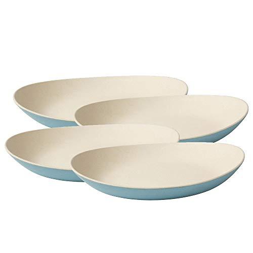 BIOZOYG Platos de bambú orgánico I Platos para niños Platos de Torta Platos para Servir tazón de Fuente I 4 x Platos de Comedor ovalados de melamina Natural Blanco/Azul, 25 x 21 cm