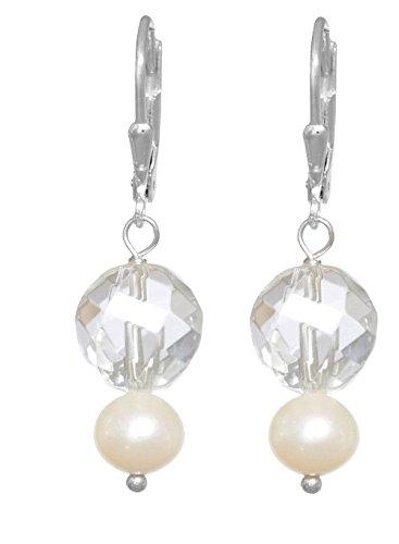ERCE Bergkristall Süßwasserperlen Ohrringe, 925 Silber