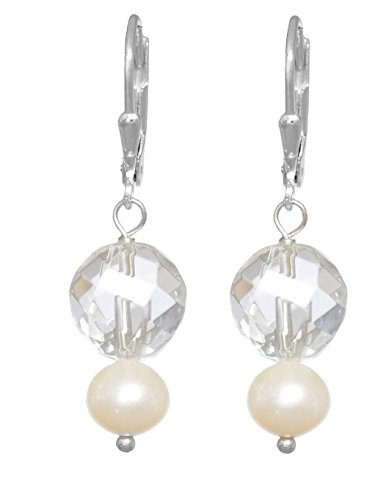ERCE perlas de agua dulce - roca de cristal piedra semipreciosa pendientes, plata de ley 925