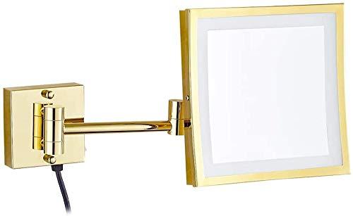 xjm Espejos de vanidad Montado en la Pared, baño de 8,5 Pulgadas LED LED de latón Iluminado de Lupa de Lupa Espejo Plegable de Maquillaje con Luces, con Enchufe eléctrico, 5X (Size : 3X)