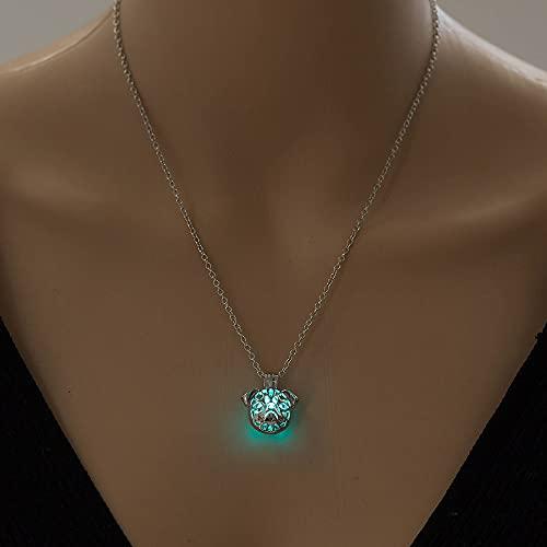 YQMR Collares Luminoso Colgante,Señoras Noche Brillante Azul Verde Colgante Moda Vintage Collar...