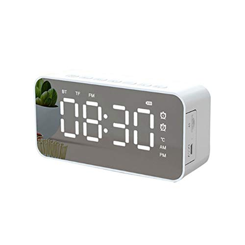Digital Alarm Clock,Bluetooth Speaker Large LED Display Mirror Desk Alarm Clock with USB Charger Ports,Built-in FM Radio,Support TF Card, Easy Call,Multifunctional Alarm Clock
