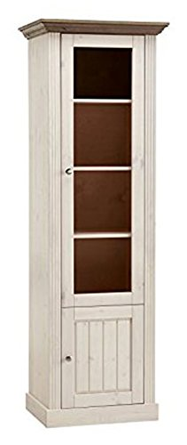 PEGANE Vitrine Coloris Blanc en pin Massif - Dim : 190 x 63 x 47 cm